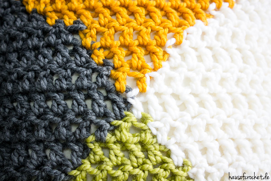 Tutorial Vierfarbiges Kissen Häkeln Hausofcrochetde